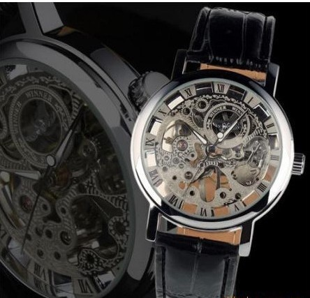 Free shipping luxury automatic mechanical watches men stainless steel seleton watch hand winding for men leather strap