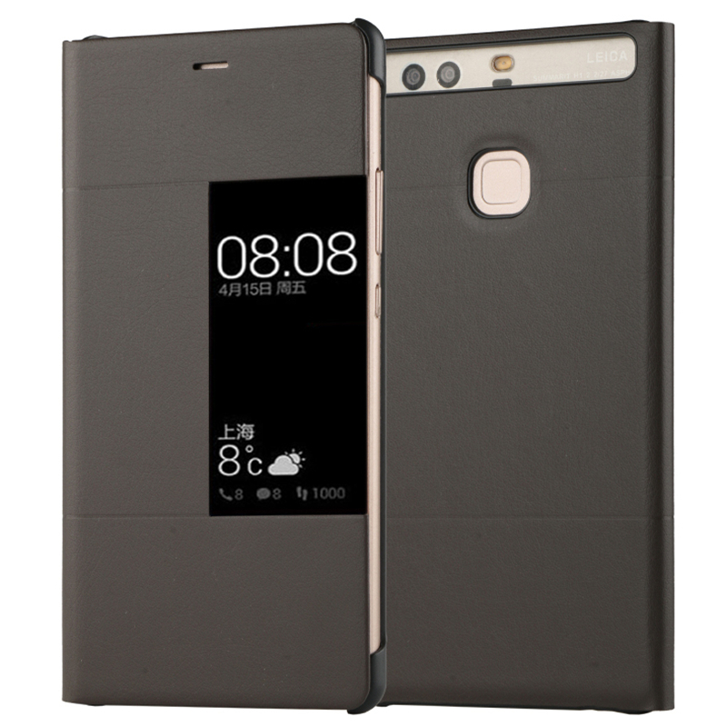 Роскошный оригинальный чехол P9 из искусственной кожи с окошком для экрана для Huawei P9