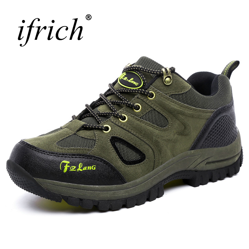 Ifrich Outdoor Walking Hiking Shoes Men Big Size Mountain Sneakers Breathable Climbing Boots Army Green Shoes Trekking Men будильник вега