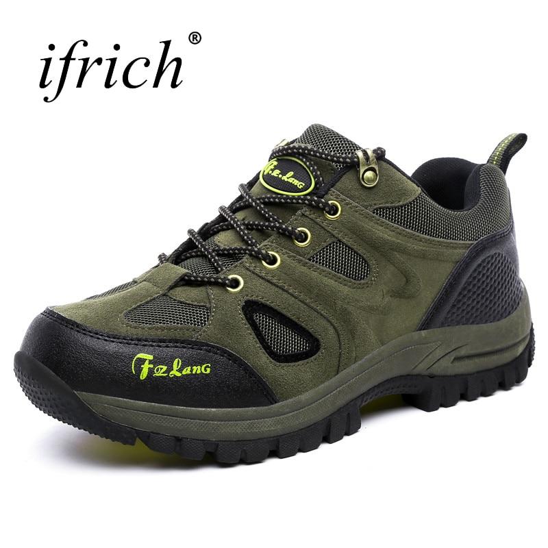 Ifrich Outdoor Walking Hiking Shoes Men Big Size Mountain Sneakers Breathable Climbing Boots Army Green Shoes Trekking Men tech line 756 7х17 5х105 d56 6 ет39 bdm
