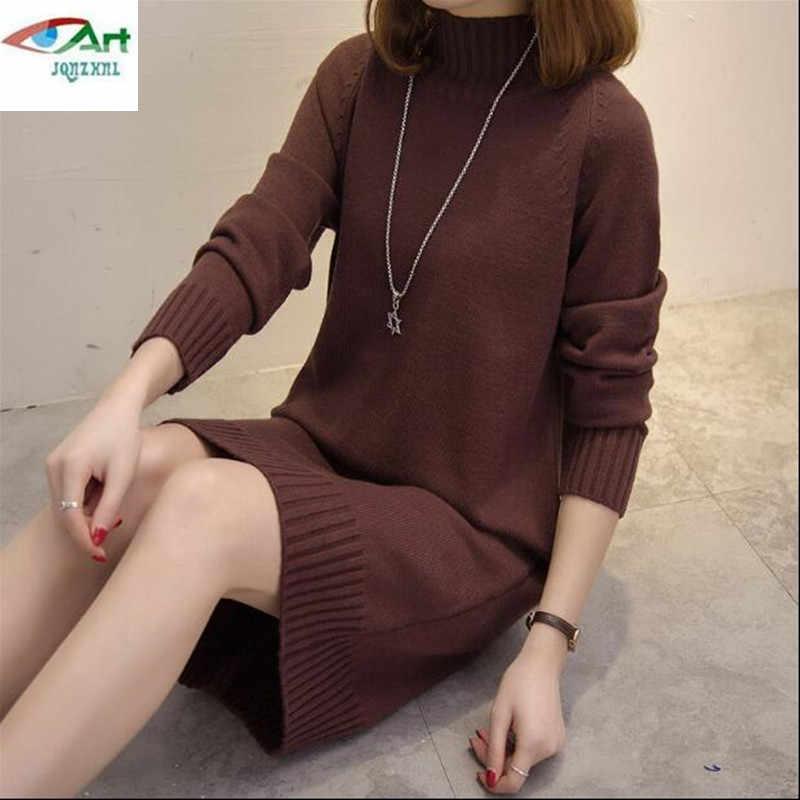 JQNZHNL 2019 Winter Warme Lange Pullover Kleid Frauen rundhals Pullover Pullover Weibliche Gestrickte Pullover Pull Femme Kleidung AS403