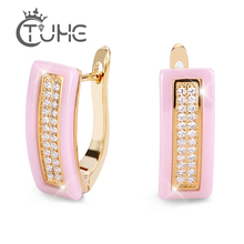 2019 Fashion U Bend Earring Shiny Lovely Pink Ceramic Rings ladies Shaped Gold Silver Color Women Earrings Elegant Jewelry