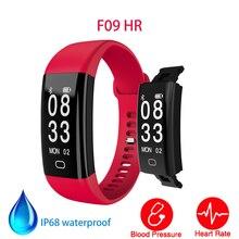 Модные Смарт-браслет F09 HR 0.96 дюймов HD Экран сердечного ритма Приборы для измерения артериального давления Мониторы шагомер спортивный браслет IP68 Водонепроницаемый