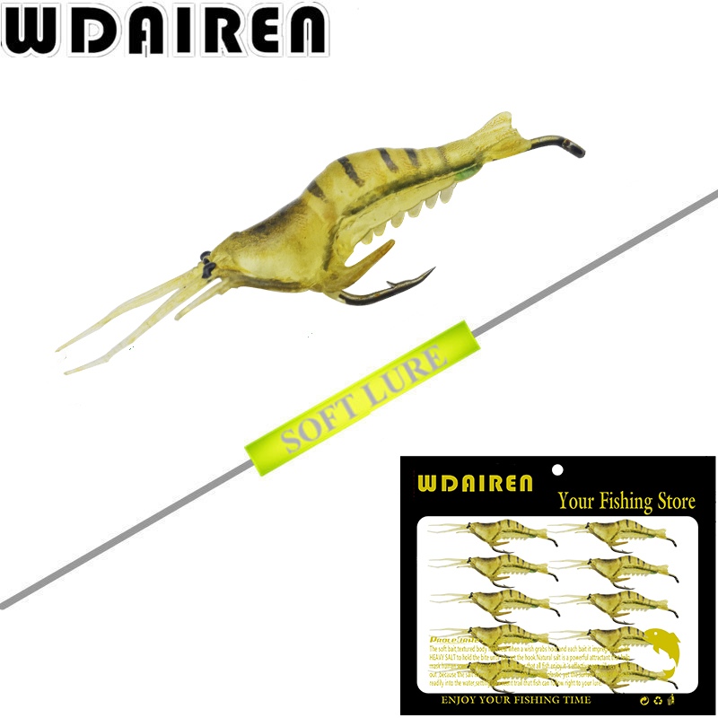 10pcs/Lot Sea Fishing Lures Shrimp Worm Soft Bait Artificial Squid Plug Prawn Lure with Sharp Crank Hook Lead Carp Pesca Tackle 1pcs big sea fishing lure 140cm 42g squid lure wobbler jigs fishing lures for trolling bionic squid minnow artificial hard bait