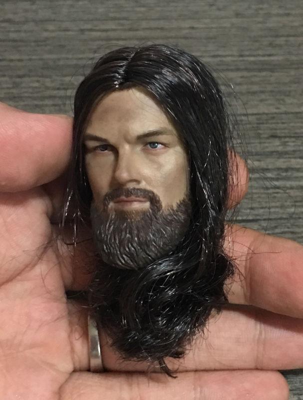 1/6 Scale Male Leonardo The Revenant Head Model Black Hair W/Beard For 12 Action Figure