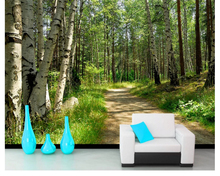 beibehang wallpaper green forest birch landscape TV background wall papel de parede wallpaper for walls 3 d photo wall mural