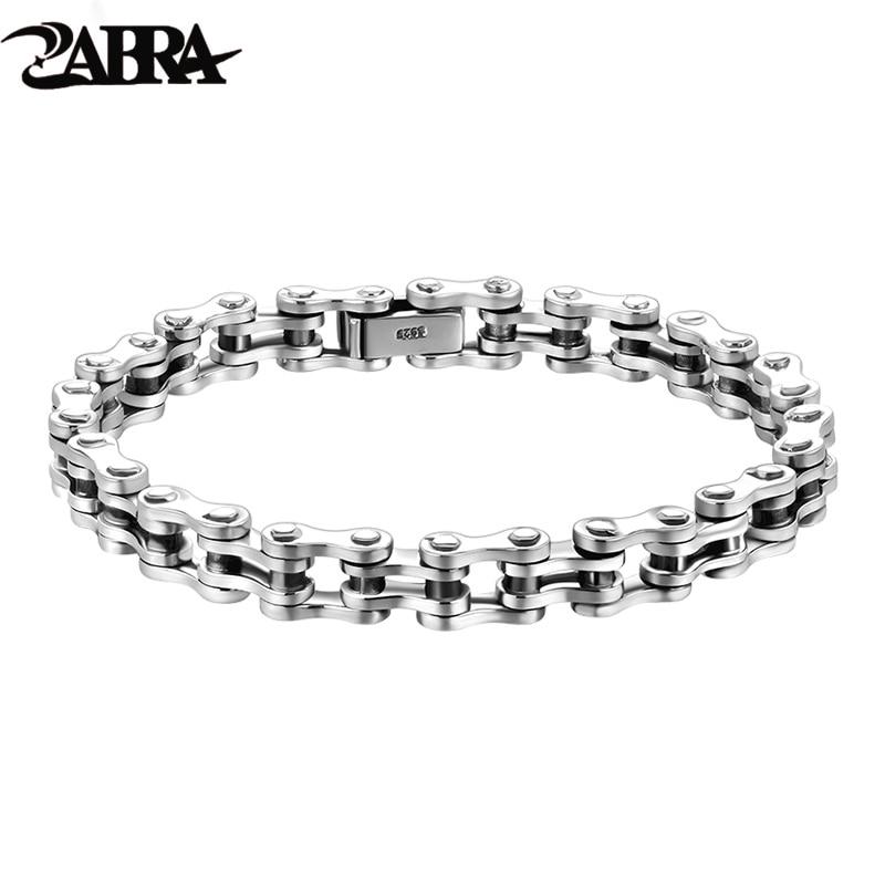 ZABRA Biker Bracelet Solid 925 Sterling Silver Bracelets Men Link Chain High Polished Handmade Vintage Punk