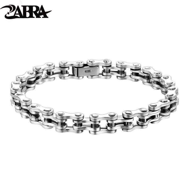 ZABRA Байкерский браслет, твердые браслеты из серебра 925 пробы, мужские звенья цепи, полированные, ручная работа, винтажные, Панк ювелирные изделия для женщин