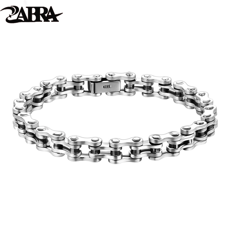 ZABRA Biker Bracelet Solid 925 Sterling Silver Bracelets Men Link Chain High Polished Handmade Vintage Punk Jewelry For Female zabra authentic 925 sterling silver 8mm skull bracelet link chain mens bracelet vintage thai silver punk bracelets men jewelry