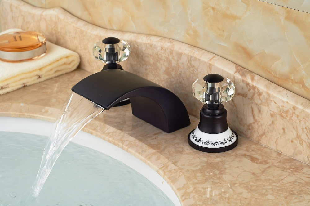 Ceramic Cap Crystal Handles Oil Rubbed Bronze Waterfall Sink Mixer Tap 3 Holes oil rubbed bronze bathroom tooth brush holder dual ceramic cups crystal holder