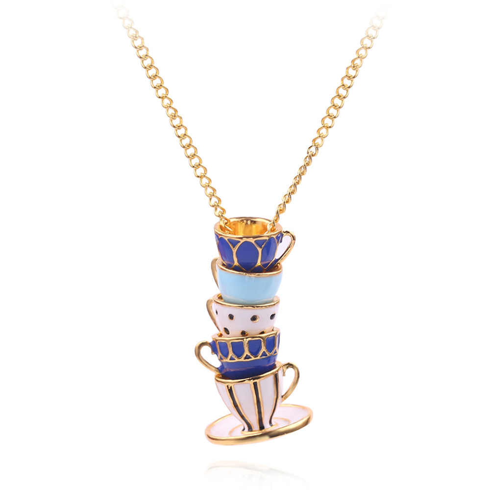 Fashion Hand Made Sweater Chain Clothing Accessories Long Necklace Enamel Jewelry Tea Cup Necklace Pendant Woman