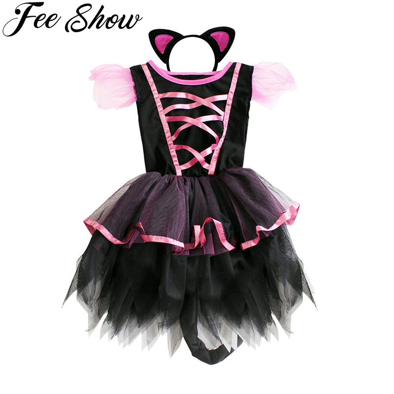 2017 cute girls tutu party dress headband halloween costume cosplay party dress witch hat scary clown