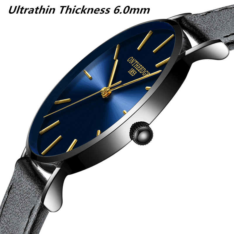ONTHEEDGE Super Ultra thin Men Watch Relogio Masculino Genuine Leather Strap Wristwatch Relojes Para Hombre