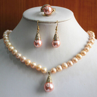 Miss Charm Jew 495 Charming Women S 8mm Pink Shell Pearl Necklace Earring Ring 7 8