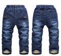 Varejo nova chegada 2015 inverno cashmere grossa crianças jeans para meninos calças jeans crianças calças quentes para crianças