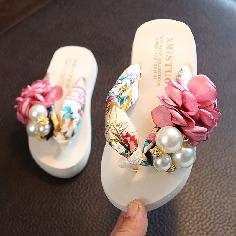KRIATIV2019 Summer Beach Shoes Cute Flowers Sandals Princess Girls Shoes Slippers Anti-skid Flip Flops Fashion Women Swimming