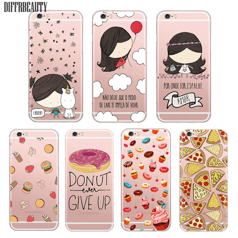 Unicorn Girl Delicious font b Food b font Pizza Sushi Chocolate Bottle Clear Soft Gel Case