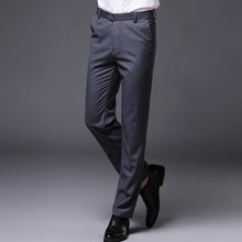 Business slim solid color straight men's suit pants  free shipping 2017 new free shipping fashion black color slim straight leisure