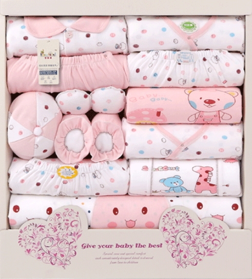 688d18c85c228 Free Shipping Pure Cotton New Born Baby Gift Set Box 17 Pcs 3 Sets Newborn  Baby