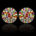 Beautiful colorful multicolor AAA Cubic Zirconia big round flower stud earrings,high quality gold plated luxury fashion jewelry