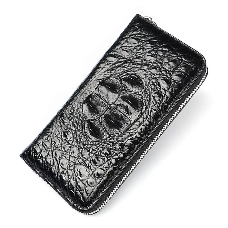 Classical Designer Genuine Crocodile Skin Zipper Closure Businessmen Long Style Card Wallet Alligator Leather Male Clutch