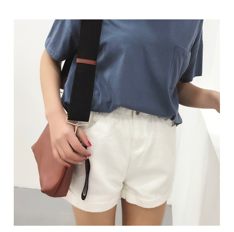 Roll Up Hem Elastic Waist Pocket Blue White Jeans Female 15