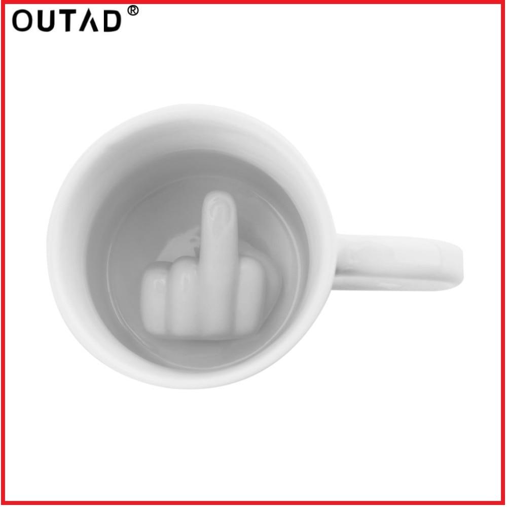 Creativo Bianco Dito Medio Stile Tazza Della Novità Tazza di Miscelazione di Caffè Tazza di Latte Divertente Tazza di Ceramica Abbastanza Capacità Tazza di Acqua di Trasporto di Goccia