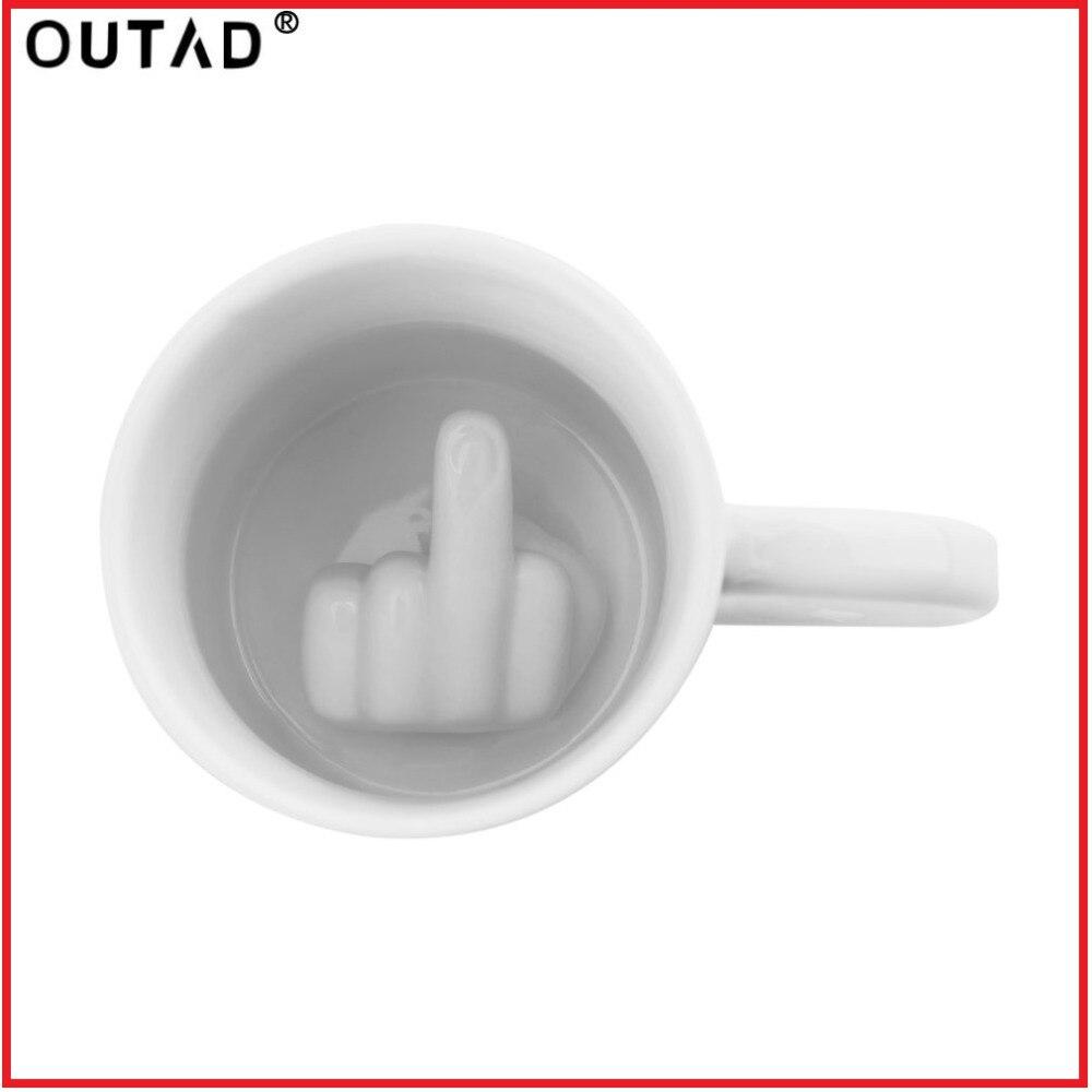 Taza creativa blanca de medio dedo estilo novedad mezcla café leche taza divertida cerámica taza suficiente capacidad taza de agua Envío Directo