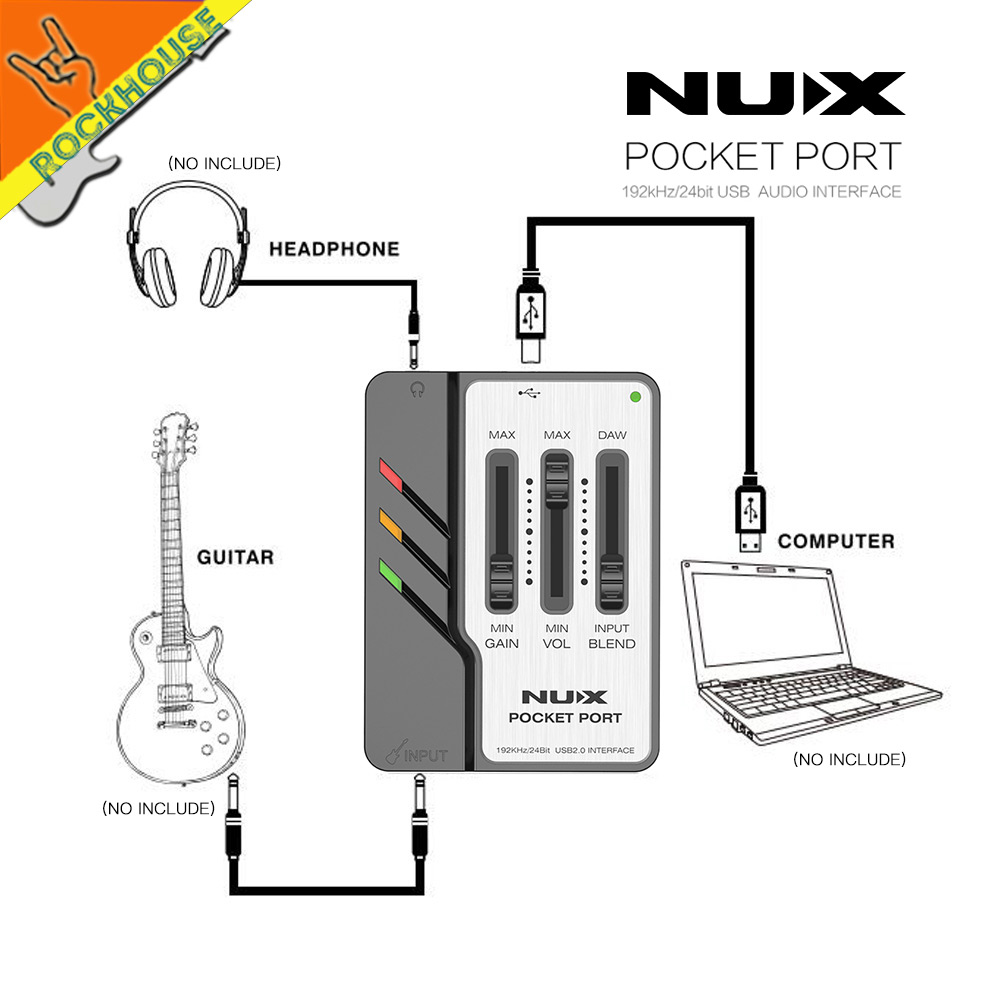 NUX Pocket Port Portable Guitar USB Audio Interface Low Power Consumption Professional Guitar Accessories free shipping nux uc 2 mini port usb audio interface