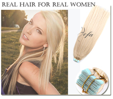 Double drawn blonde tape in human hair extensions remy 40pcs human tape hair virgin 16 20 24inch Russian tape hair extensions