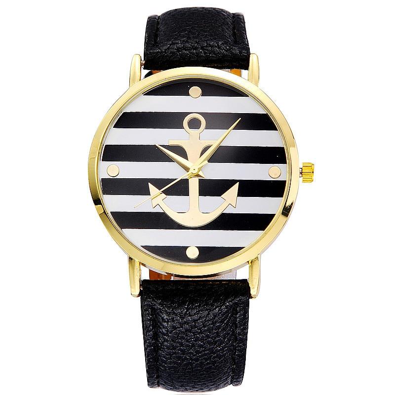 Décontracté Cuir Femmes Montres Horloge Relogio Feminino 2018 Quartz Mode Montre Bateau Ancre Genève En Femme XPZiku