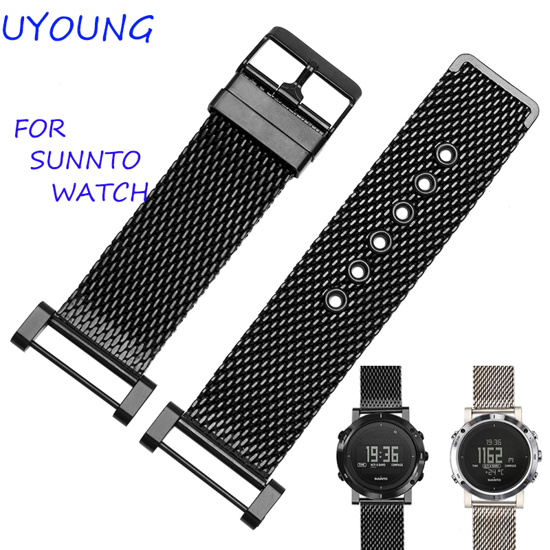 For Suunto Essential High Quality MiLan Stainless Steel Watchband 24mm Two Types Watch Strap For Suunto Core Traverse Bracelet suunto core brushed steel brown leather
