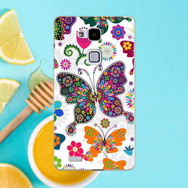 Funda del teléfono para Huawei Mate 7 Mate7 MT7-TL00 MT7-TL10 MT7-L09 caso búho leopardo mariposa Flor del teléfono de la PC dura de la caso de la cubierta