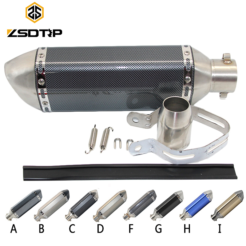 ZSDTRP Universal Motorcycle Exhaust Akrapovic Escape Moto Muffler Pipe With Removable DB Killer GY6 CBR125 CB400 CB600 YZFZSDTRP Universal Motorcycle Exhaust Akrapovic Escape Moto Muffler Pipe With Removable DB Killer GY6 CBR125 CB400 CB600 YZF