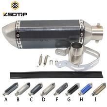 Zsdtrpユニバーサルオートバイ排気akエスケープモトマフラーパイプとdbのキラーGY6 CBR125 CB400 CB600 yzf