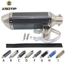 Zsdtrp tubo de escape universal para motocicleta, tubo de escape silencioso com removível db killer gy6 cbr125 cb400 cb600 yzf