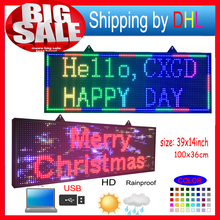Programmable led sign full color 39 X14 high brightnessP10mm outdoor smd Scrolling text LED display