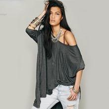 New Women's Loose Casual Solid O-Neck Long Sleeve outwear lady Irregular Hem Top Shirt T-shirt shirts vy