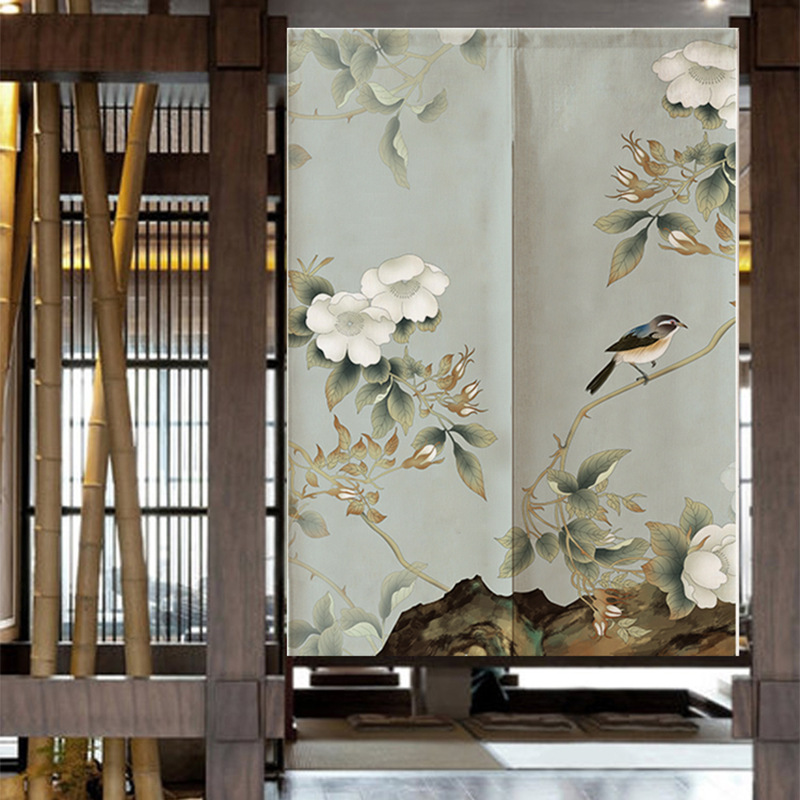New Chinese Flowers And Birds Door Curtian  Living Room Restaurant Kitchen  Half Curtain Feng Shui Curtain Noren