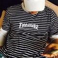 Thrasher Chama Bordado camiseta de Manga Curta Homens Da Moda Harajuku listrado Tees 2017 Nova Chegam a Marca de T-shirt Masculina 4 Cores homem
