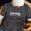 Thrasher Llama Bordado camiseta de Manga Corta de Los Hombres Harajuku Moda Camisetas de rayas 2017 Nuevo Llegan Marca Masculina Camiseta 4 Colores hombre