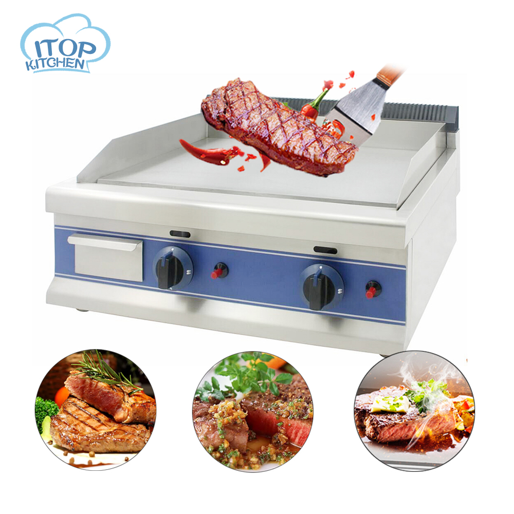 ITOP Gas Griddle 60*40cm Double Burner BBQ Grill Teppanyaki Stove LPG Easy-cleaning with Oil Collector