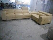 Топ-градуированных итальянская натуральная кожа Диван в разрезе, гостиная диван мебель для дома с функциональный подголовник L форма Угловой