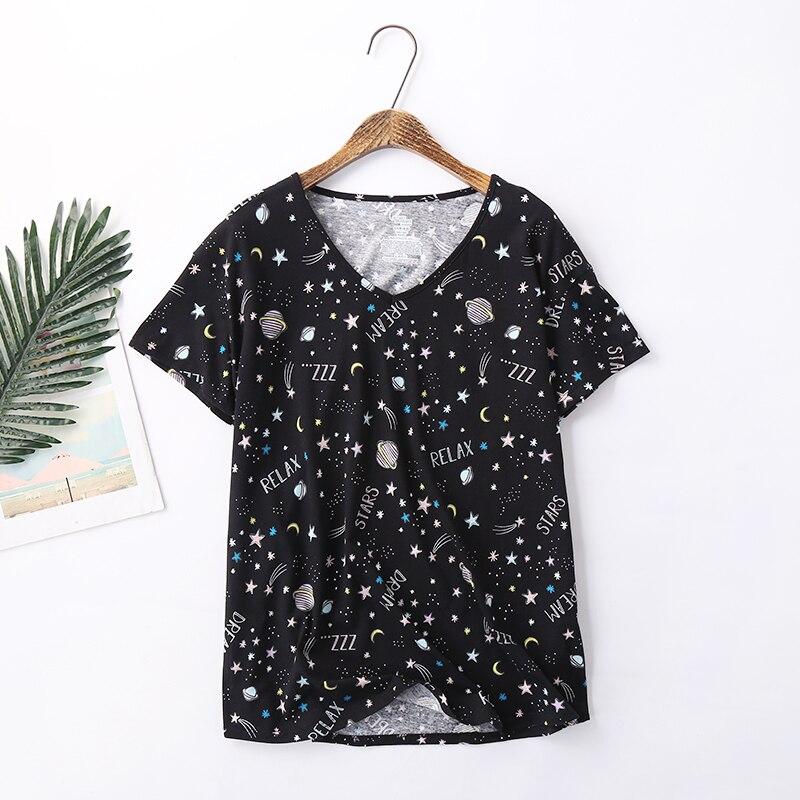2019 summer cropped trousers pajama sets women Plus size 100kg cute short sleeve cozy cotton casual homewear pyjamas for women