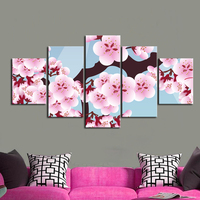 Group 3 Panels Modern Abstract Flower Giclee Print On Canvas Pink Color Wall Art Picture Home