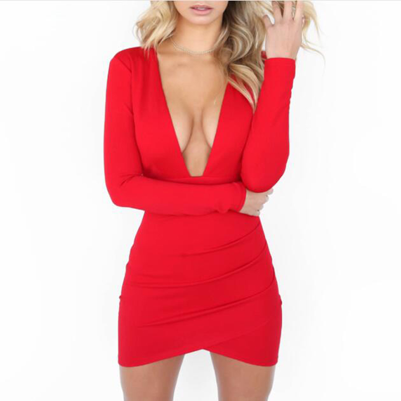 Fall 2018 <font><b>Sexy</b></font> Deep V Neck Backless Bodycon <font><b>Dress</b></font> Black <font><b>Red</b></font> Long Sleeve Open Back Night Club Evening <font><b>Christmas</b></font> Party <font><b>Dresses</b></font> image