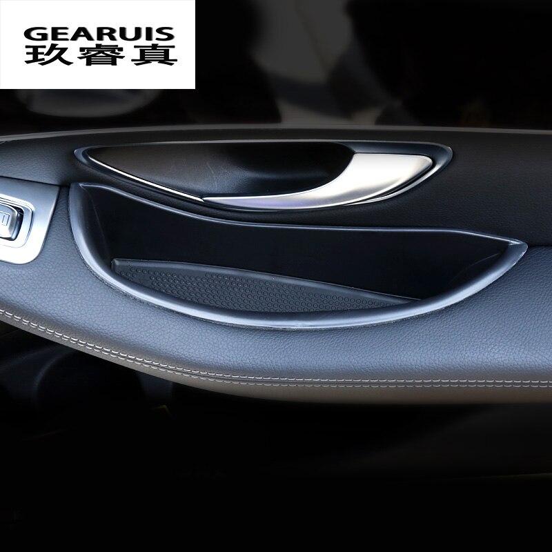 auto styling accessoires interieur zwart deur opbergdoos decoratie voor mercedes benz glc c klasse c180 c200 c260 w205 2015 2017