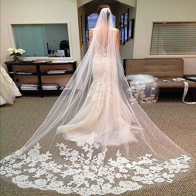 Hot Sales 3M Long Wedding Veils Cathedral Bridal Accessories Lace Edge Bridal Veil with Comb veu de noiva longo