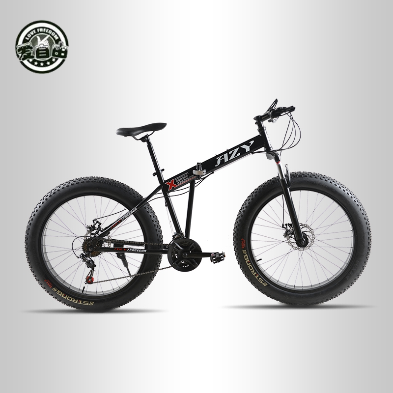 Love Freedom Mountain Bike 26*4.0 Fat Bike 21 Speed Bicycle Double Disc Brake Shock Absorbers Folding Bike Free Delivery rockbros titanium ti pedal spindle axle quick release for brompton folding bike bicycle bike parts