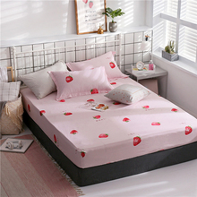 100% Cotton Fitted Sheet Fruit Strawberry Bed Sheet with Elastic Band Single Double Bed Sheets Twin Queen Size Mattress Cover